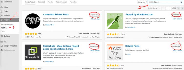 mencari plugin releted post untuk wordpress