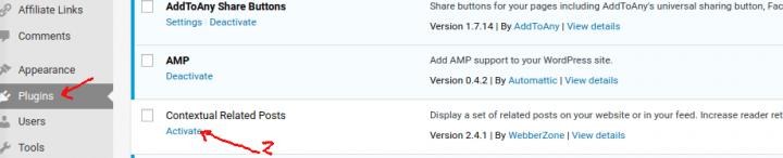 mengaktifkan plugin related post wordpress