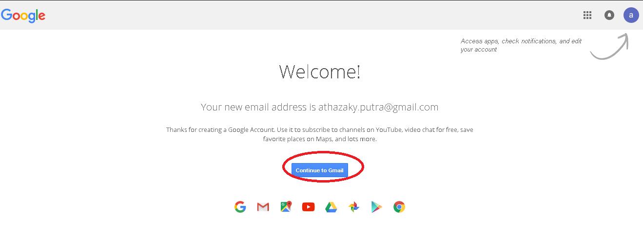 proses pembuatan email baru gmail berhasil