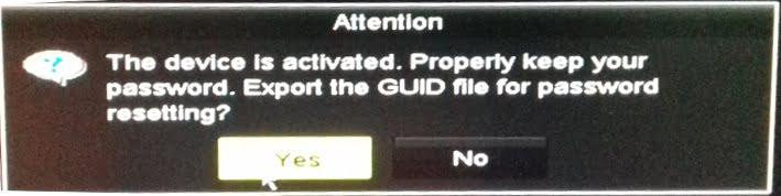export GUID untuk reset DVR CCTV jika lupa password