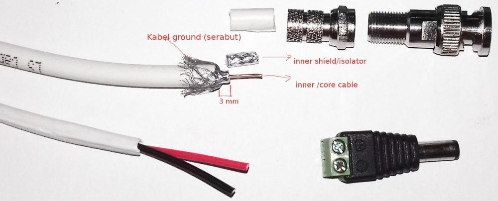 mengupas inner shield kabel coaxial rg59