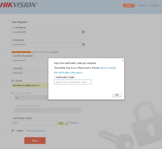 kode verifikasi saat daftar cloud access p2p dvr