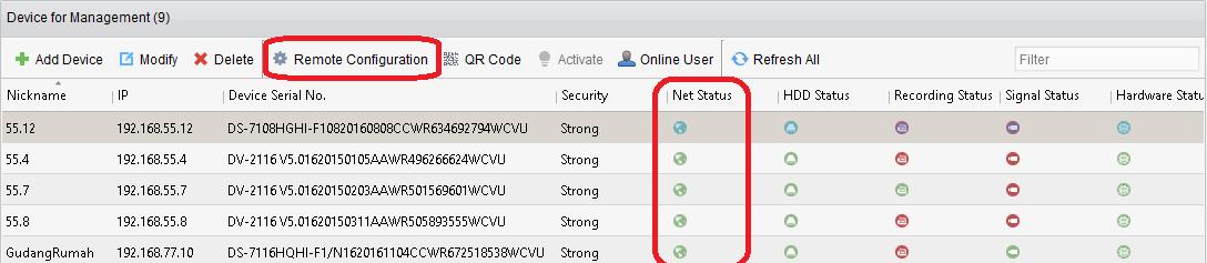 status DVR CCTV pada aplikasi CMS/VMS