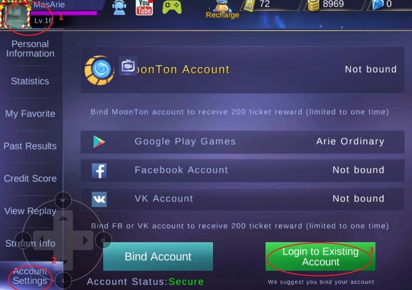 cara berganti akun mobile legends