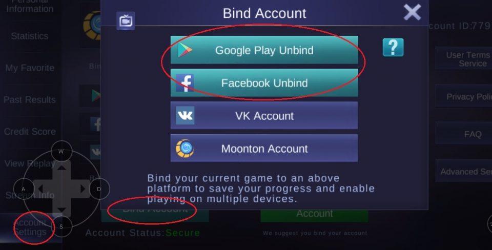 cara melepaskan unbinding akun mobile legends