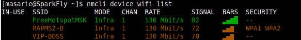 scan ssid hotspot dengan perintah linux nmcli