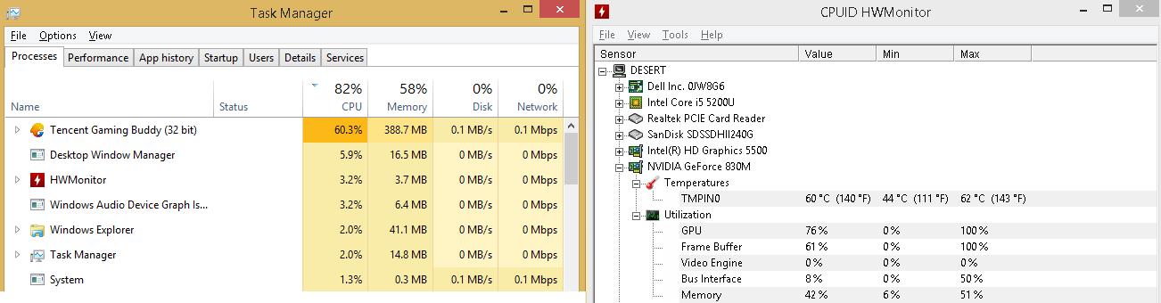 CPU dan GPU load PUBG mobile di PC laptop menggunakan tencent gaming buddy