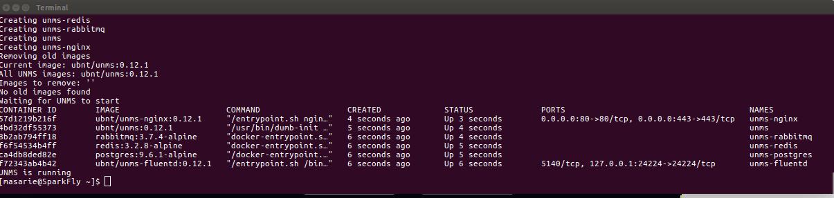 proses installasi UNMS pada linux berhasil dan berjalan