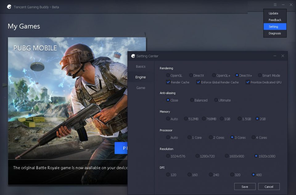 cara setting render PUBG mobile di PC menggunakan tencent gaming buddy