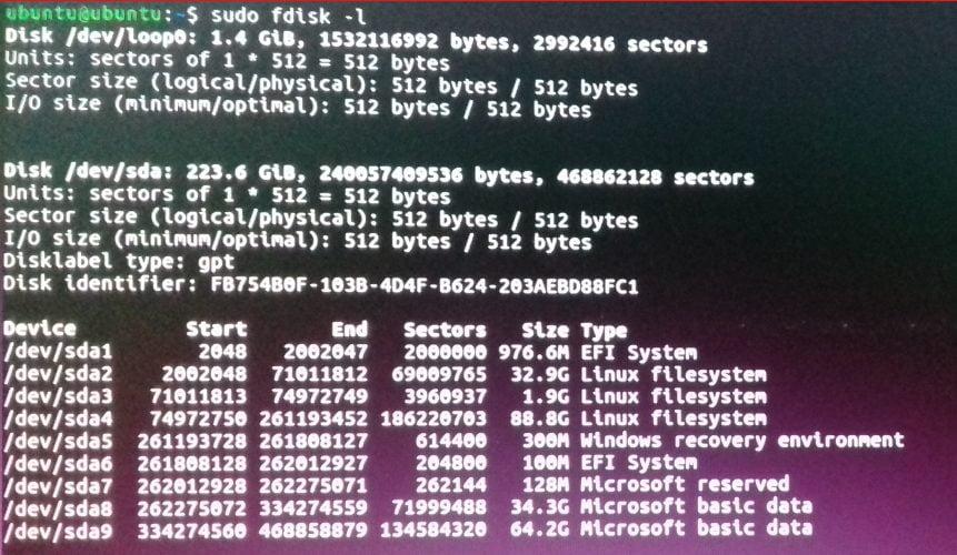 melihat informasi partisi linux dengan perintah linux