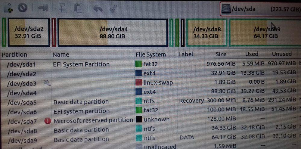 melihat informasi partisi linux dengan aplikasi gparted