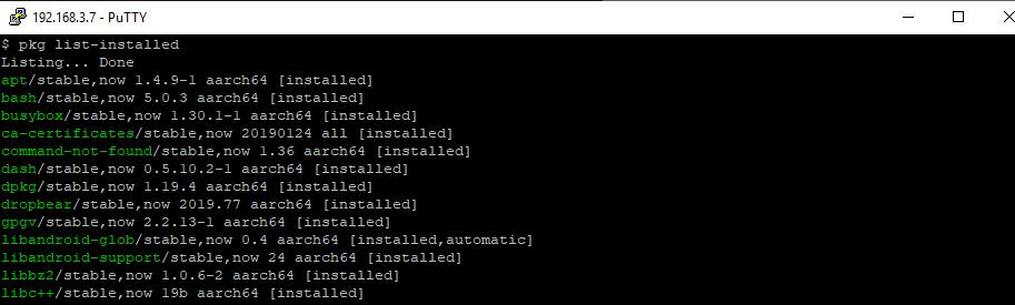 perintah untuk menampilkan aplikasi yang telah terinstall di termux
