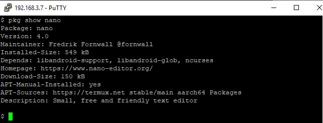 cara menampilkan informasi package aplikasi di termux