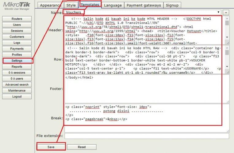 cara mengubah tampilan template kode vocer wifi hotspot mikrotik