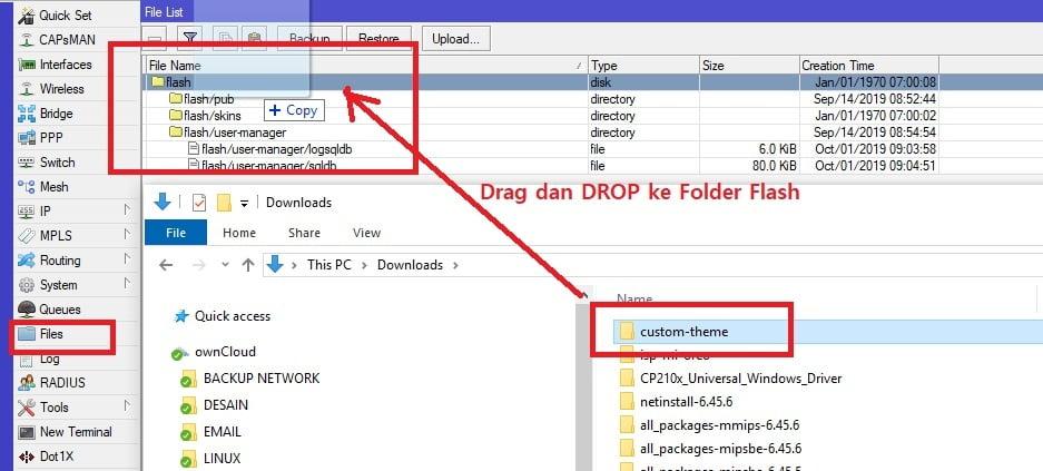 cara mengupload tema atau template login wifi hotspot mikrotik