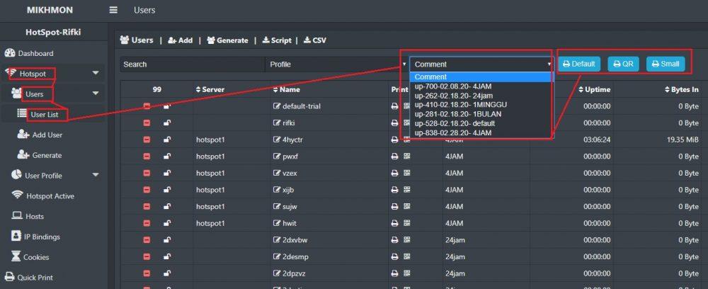 cara cetak ulang voucher hotspot dari menu users mikhmon