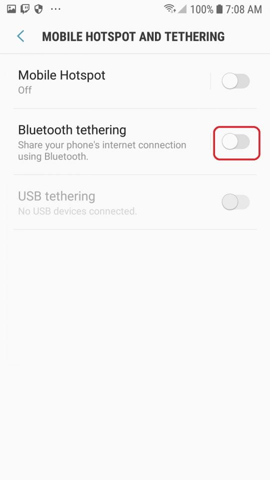bluetooth tethering android