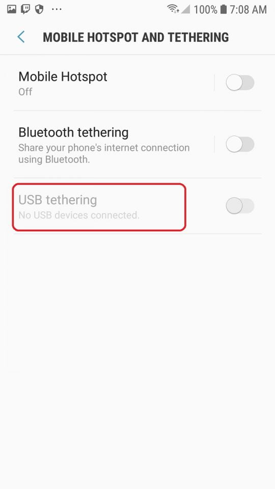 usb tethering android