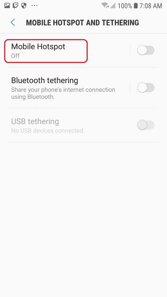 menu mobile hotspot and tethering android