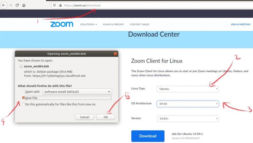 download zoom di ubuntu, linux mint dan debian