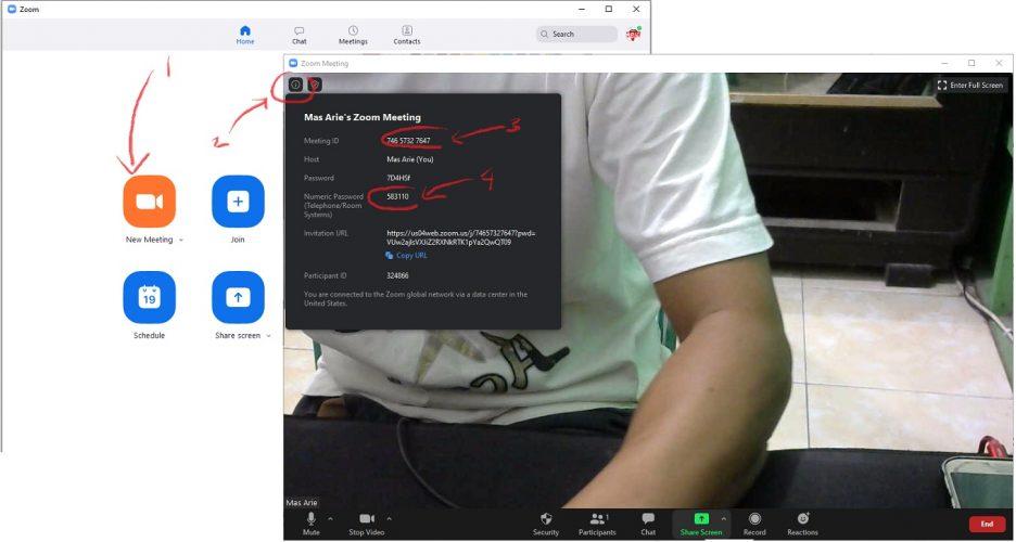 share meeting id dan password zoom