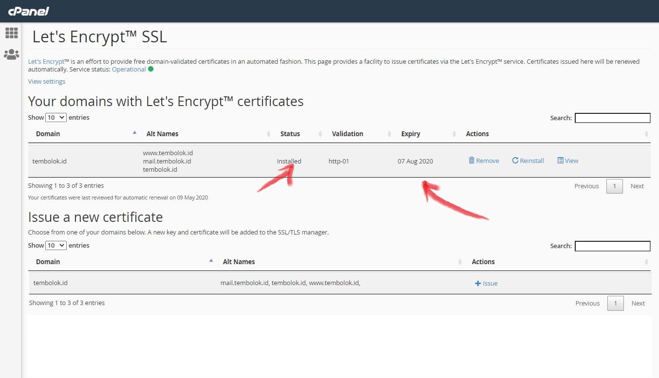 SSL berhasil dipasang di domain