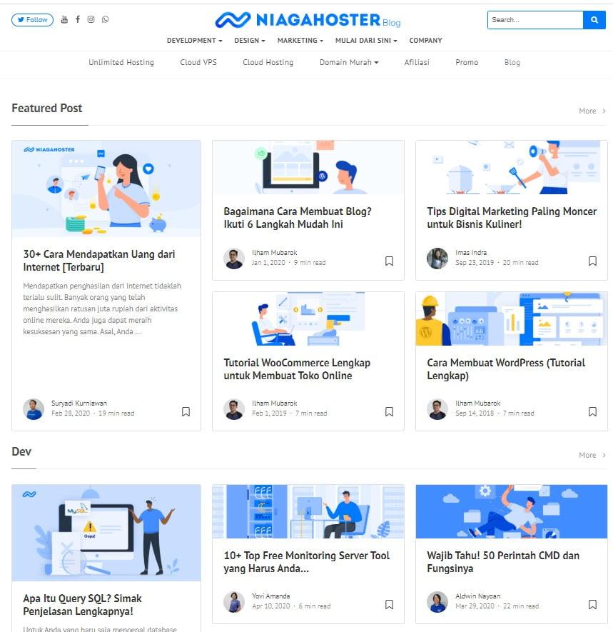 halaman blog post yang berisi content marketing