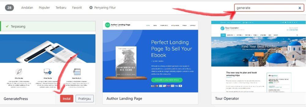 mencari dan menginstall tema wordpress