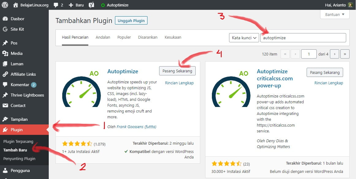 install plugin optimasi JS, CSS, HTML dan Image