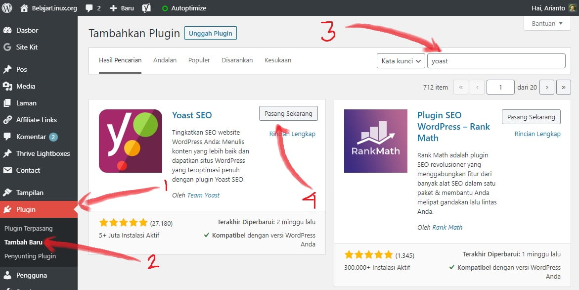 install plugin yoast seo