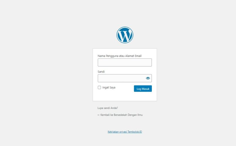 login ke wordpress