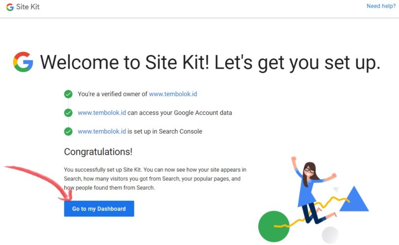 finish setup search console di  google site kit