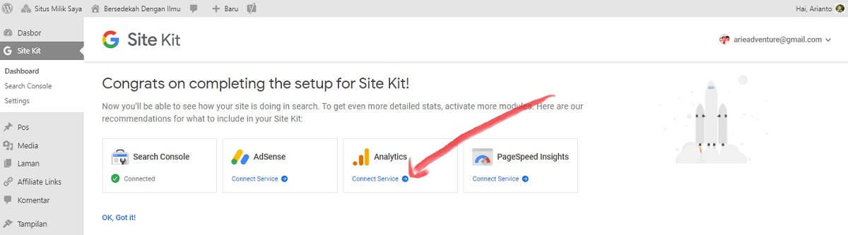 memasang google analytics via site kit wordpress