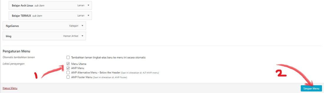 simpan perubahan settingan menu wordpress