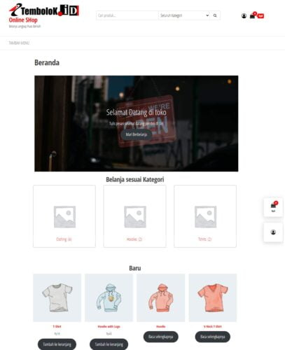 preview tampilan depan toko online