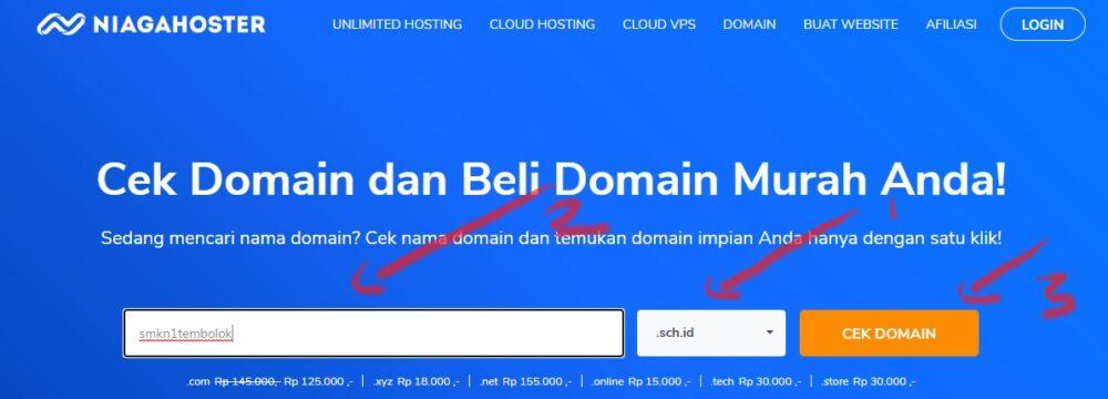 cara cek ketersediaan domain sekolah