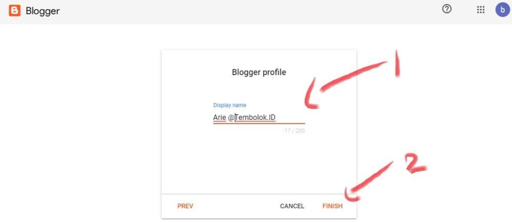 menentukan nama yang akan tampil di blogger