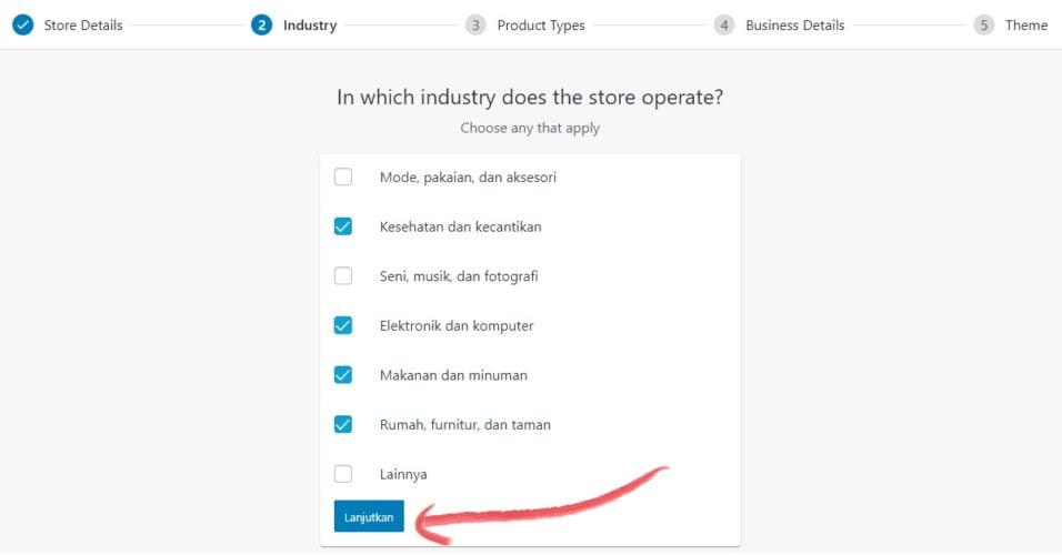 memilih jenis industri untuk toko online anda