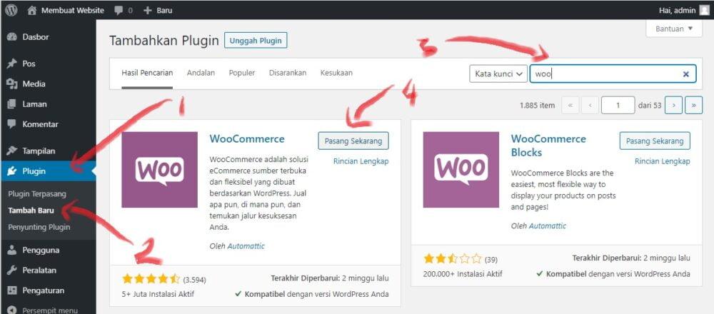 cara menginstall plugin woocommerce di wordpress untuk membuat toko online