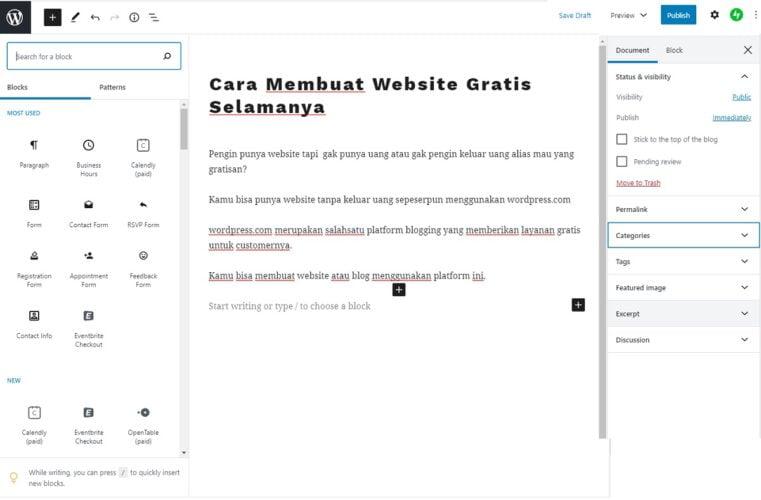 cara mengetik artikel menggunakan editor di wordpress.com