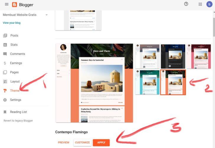 cara mengganti tampilan tema website/blog di blogspot