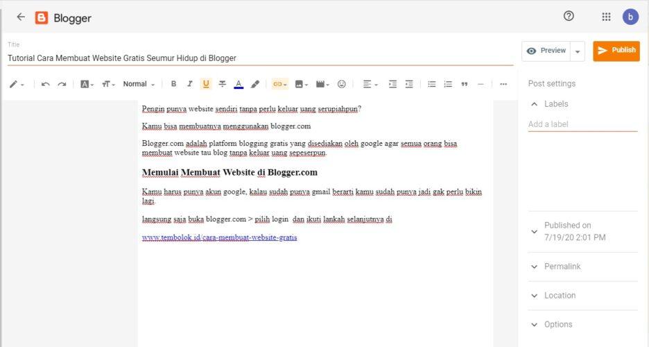 cara membuat artikel atau postingan di blogspot