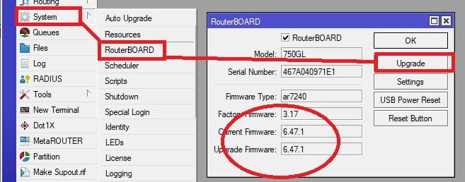 cara upgrade firmware mikrotik