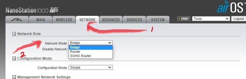network mode pada radio wireless