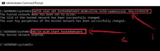 perintah untuk membuat wifi hotspot di laptop windows 10