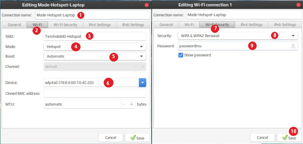 mengatur SSID dan password WiFi di Linux mint