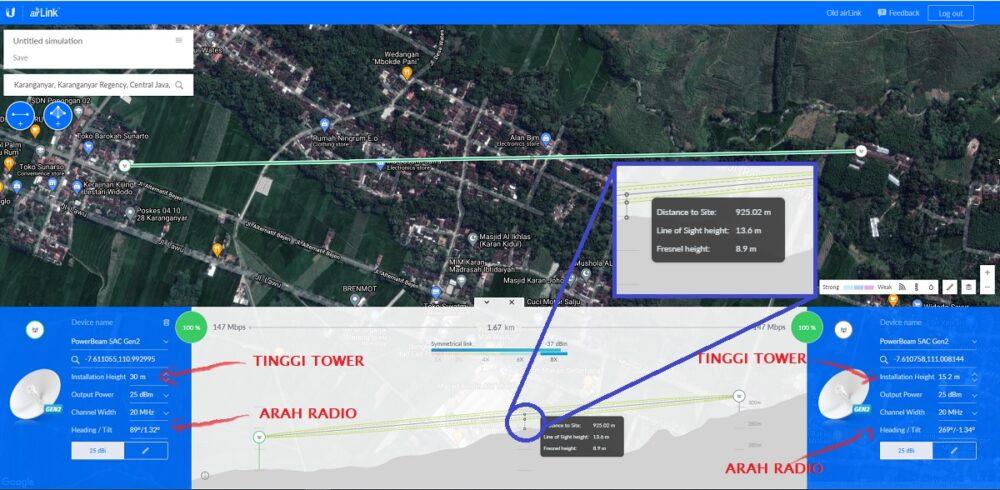 cara menghitung tinggi tower dan arah radio untuk koneksi wireless PtP