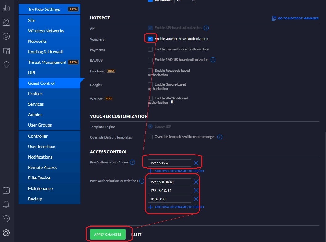 block akses pegguna hotspot ke jaringan internal/external