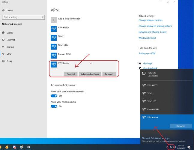 cara konek ke server VPN mennggunakan windows 10