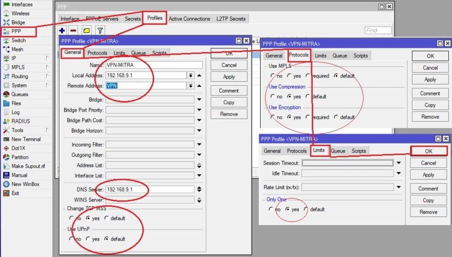 membuat user profile pptp mikrotik